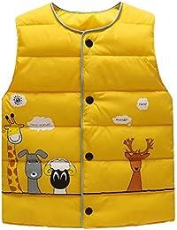 LaoZanA Chaleco Infantil Niño Niñas Chaqueta Sin Manga Invierno Vest Abrigos Amarillo 130CM