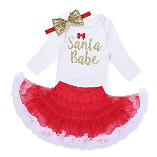 iEFiEL Baby Mädchen Kleidung Set Weihnachten Outfits Strampler mit Röckchen und Stirnband Weihnachtskostüm - Mein erstes Weihnachten (92, Santa Babe)
