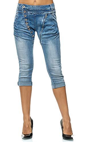 Elara Damen 3/4 Jeans | Kurze Capri Hose | Slim Fit | High Waist | Chunkyrayan C613M Blue-40 -