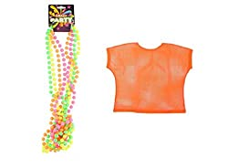 80'S Neon Disco Night Rave Set Includes Bright Neon Mesh Top & Neon 4 Colour Bead Necklace-Orange from Generic