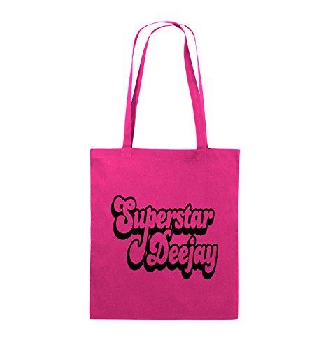 Comedy Bags - Superstar Deejay - Jutebeutel - lange Henkel - 38x42cm - Farbe: Schwarz / Silber Pink / Schwarz