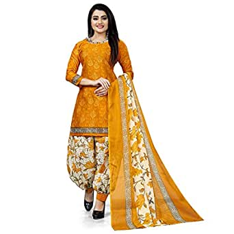 Rajnandini Yellow Cotton Salwar Suit For Women (Ready To Wear)(One Size)