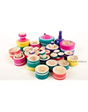 Sri Balajee Bangles Eco-Friendly Wooden Rural Kitchen Toy Play Set for Kids Girls (Multicolored) (Multicolor_Kitchen Set)