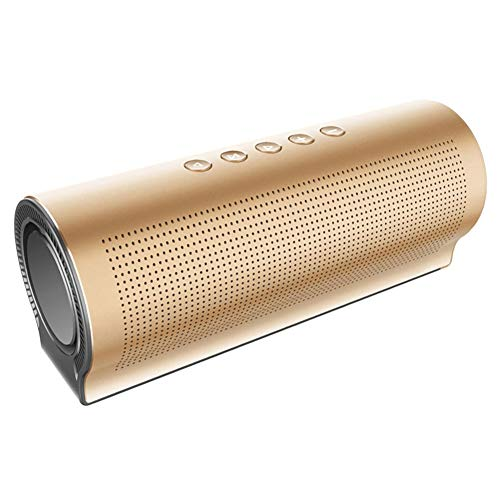 LZJZ Aluminiumlegierung Bluetooth Lautsprecher Zylinder 20W High Power Portable Subwoofer Turbo Doppelmembran,Gold