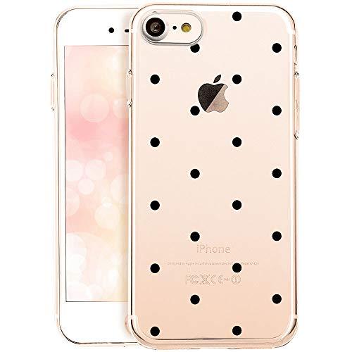 OOH!COLOR Schutzhülle Kompatibel mit iPhone 7 iPhone 8 Handyhüllen silikon Hülle Transparent Case dünn Tasche mit Motiv Schwarze Punkte (EINWEG)