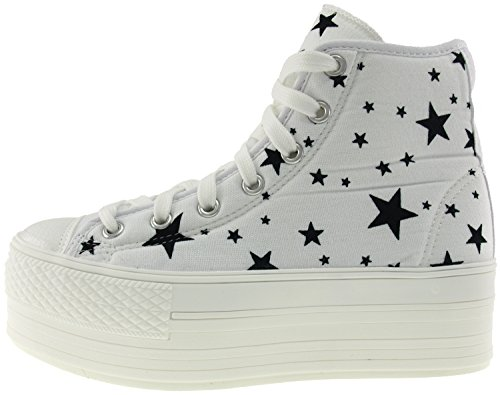 Maxstar C50 7-Fach mit Reißverschluss Fashion Platform High Top Sneakers Star-White
