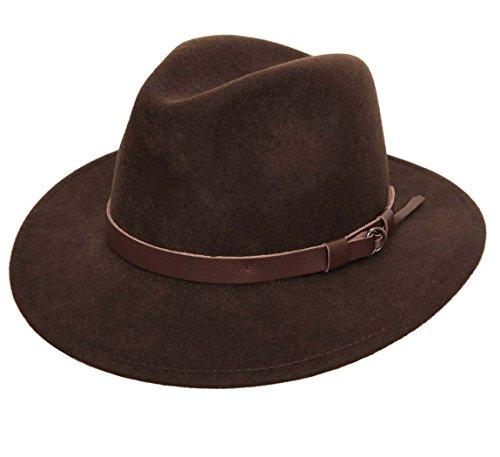 Classic Italy - Chapeau Fedora Pliable Feutre - 11 Coloris - Homme ou Femme Classique Traveller - Taille 59 cm - Marron