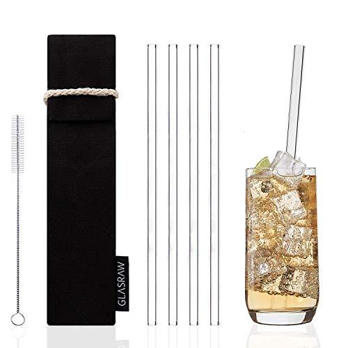 GLASRAW | Glas Strohhalme [23 cm] ♻ Wiederverwendbare Trinkhalme aus Glas inkl. Tasche aus Baumwolle & Bürste | Cocktail/Smoothie: nachhaltig, gesund + plastikfrei (4er Set) -