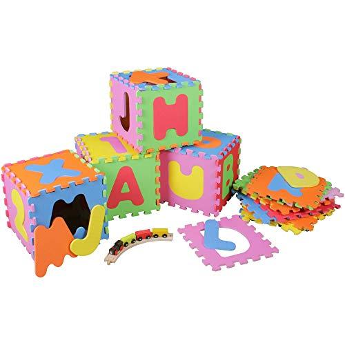 Prinzbert Buchstaben Puzzlematte 36 Matten 86-TLG. Puzzleteppich Spielmatte | Kinder Spielteppich Schaumstoffmatte rutschfest | Lernteppich schadstofffrei Spielfläche Lerneffekt | ABC & Zahlen Puzzle