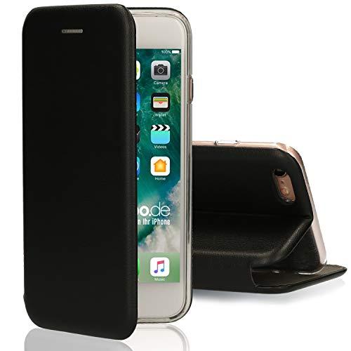 [kompatibel für iPhone 5 / 5s / SE] Flip-Case Hülle [Deluxe Leder Case] Handyhülle mit Magnetverschluss und Standfunktion Cover Schwarz