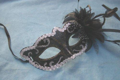 und Gold Mit Blumen und Federn venezianische Maskerade Party Karneval Maske (Venezianische Feder Maske Blume)