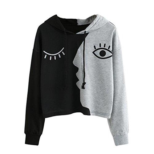 Kapuzenpullover Langarm Damen Sunday Sweatshirt mit Kapuze Crop Patchwork Gesicht Pullover Tops (Grau, 3XL) (Gesicht, Ärmelloses Top)