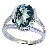 Gemsyogi Unisex Herren Damen - Sterling-Silber 925 Sterling-Silber 925 Oval Blue Blautopas
