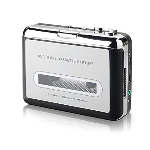 IIEasy Portable USB Mini Cassette Audio Tape-à-MP3 Converter lecteur adaptateur avec câble USB et Cd logiciel comporte également Auto Reverse - pour PC