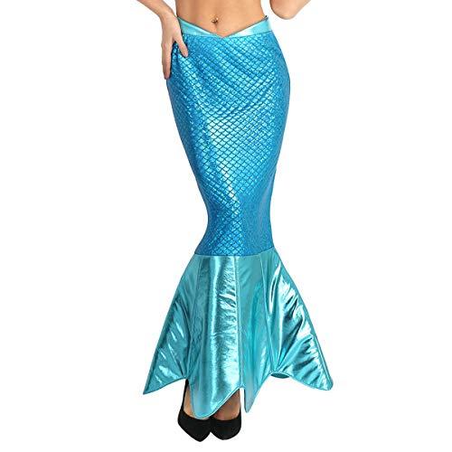 iixpin Damen Pailletten Rock Meerjungfrau Maxirock Blau Cosplay Halloween Kostüm Karneval Fasching Party Festlich Verkleidung Abendkleid Blau ()