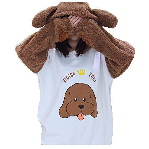 Sieger Kostüm - Double Villages Kostüm Sieger Makkachin Pudel Fleece Pullover Kostüm Sieger Makkachin Pudel Hoodie Shiba Inu Mantel Anime Juri auf EIS Unisex (S)