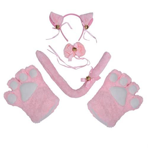 Schwanz Katze Kostüm Machen - NUOBESTY ein satz kreative katze cosplay kostüm schwanz ohren kragen pfoten handschuhe für halloween karneval weihnachten kostüm dekoration (rosa) 5 stücke