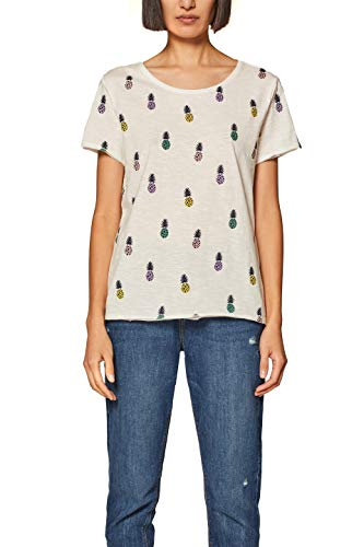 edc by ESPRIT Damen 039CC1K020 T-Shirt, Weiß (Off White 2 111), Large (Herstellergröße: L)