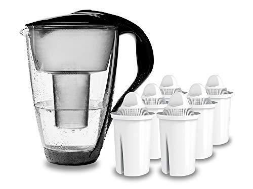 PearlCo - Glas-Wasserfilter (schwarz) mit 6 classic Filterkartuschen - passt zu Brita Classic