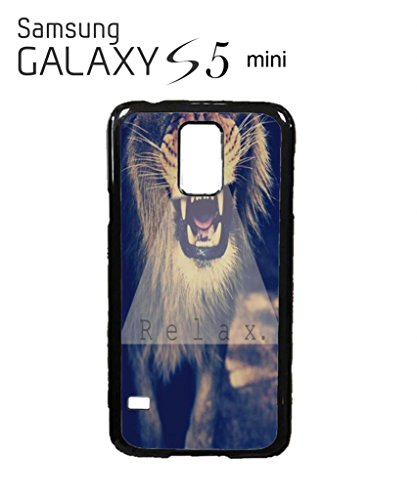 Relax Triangle Lion Leopard Tiger Animal Funny Hipster Swag Mobile Phone Case Back Cover Hülle Weiß Schwarz for Samsung Galaxy S5 Mini Black -