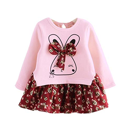 Happy Event Kleinkind scherzt Baby Hase Cartoon Blumenprinzessin Partykleid Kleidung (3-4 Jahre-11)
