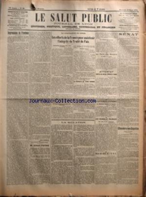 SALUT PUBLIC (LE) [No 88] du 29/03/1922 - IMPRESSIONS DE PROVINCE PAR LOUIS MADELIN - SILHOUETTES PARLEMENTAIRES - M ALBERT FAVRE - LA CONFERENCE DE GENES - LES EFFORTS DE LA FRANCE POUR MAINTENIR L'INTEGRITE DU TRAITE DE PAIX - LE DISCOURS DU TRONE ROUMAIN - LA SITUATION - AU PAYS DES SOVIETS - ATTENTAT CONTRE UN ANCIEN MINISTRE RUSSE - LA LUTTE CONTRE LES EPIDEMIES - LES SCANDALES COLONIAUX - GALA DE BOXE DE L'UNC - SENAT - CHAMBRE DES DEPUTES