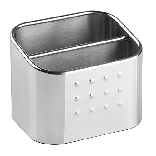 InterDesign Forma Double-Compartment Sink Caddy, Sponge Holder and Soap Dish Set for Bathroom or Kitchen, Made of Stainless Steel, Silver