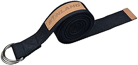 Sunland Polyester Cotton Yoga Stretching Belt Fitness Training Strap Belt With Metal D-Ring and Leather Accents 244cm Length 4.2cm Width black