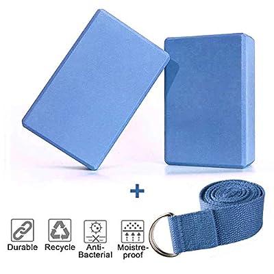 TIME4DEALS 2er-Set Yoga Blöcke/Yogablock, 1 Stück Yogagurt mit 1 Paar Yogasocken für Rücken und Blockaden Regeneration Training Dehnübungen