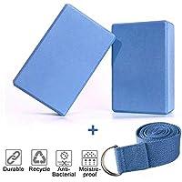 KidsHobby 2pcs Bloques de Yoga+Correa - Bloque de Espuma EVA de Alta Densidad para Hacer Ejercicios en Casa-Set de Yoga para Mejorar Fuerza y Flexibilidad-Perfecto de Yoga/Pilates Amantes(Azul)