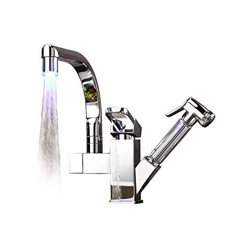 WX001 Mitigeur à LED avec douchette pour lavabo/évier...