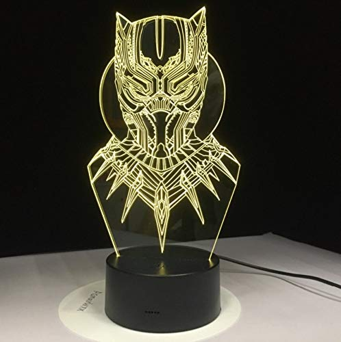 Lixiaoyuzz 3D Nachtlampe Led Black Panther Night Light Usb Touch Luminous Super Hero Desk Lamp Kids Bedroom Sleep Lighting Fixture Home Party Decor Black Night Light