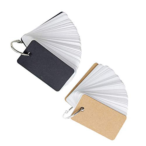 Homyl 2 Pieces/Set Note Card with Binder Ring Memo Pad DIY Flash Cards Khaki/Black