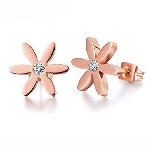 findout Ladies 14K Rose Gold überzogenen Titanstahlrund Bean Herz-Stern-Perlen Kugelohrringe, Für Frauen Mädchen (daisy)
