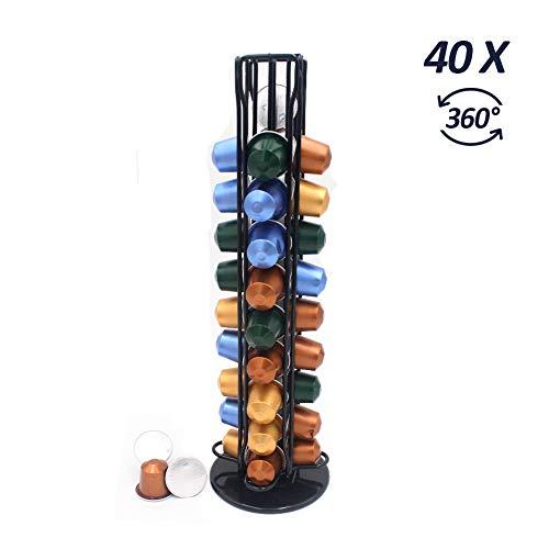 Porta capsule caffè nespresso, caffè nespresso holder-40 capsule, porta capsule girevoli 360° compatibile con capsule caffè nespresso