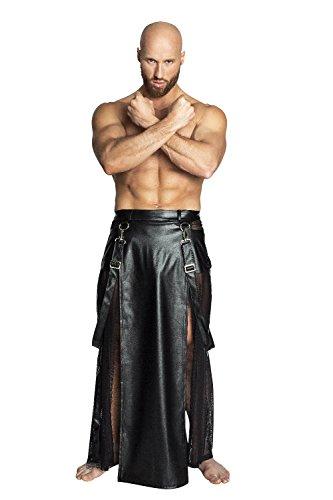 Preisvergleich Produktbild NOIR HANDMADE, H038-S, Men - Kunstleder Herren Rock mit Tülleinsätzen, Zippern und Hosenträgern, schwarz