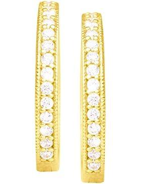 MyGold Damen Creolen Ohrringe Gelbgold Weißgold Weissgold 333 Gold (8 Karat) Mit Steinen Zirkonia Ø 17mm Goldohrringe...