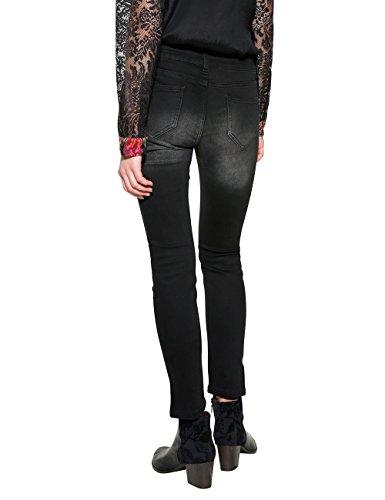 Desigual Damen Slim Jeans Denim_second Skin Gold Blau (Black Denim 5009)