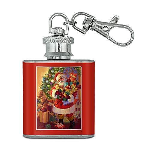 Vacances de Noël Père Noël offrant Jouets en acier inoxydable 28,3 gram Mini Bouteille Porte-clés