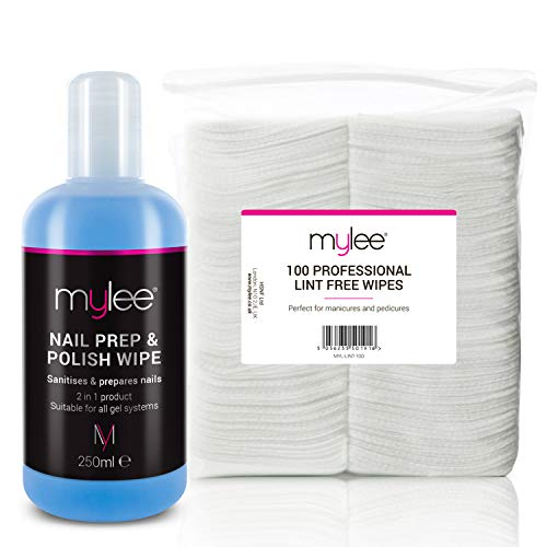 Mylee gel prep & wipe finitura per smalto per unghie in gel salvietta di finitura per rimuovere residui 250ml + 100x kit salviette per la pulizia, preparazione e post-cura, per smalto in gel uv led pre & post wipe, sanifica & rimuove lo strato appiccicoso