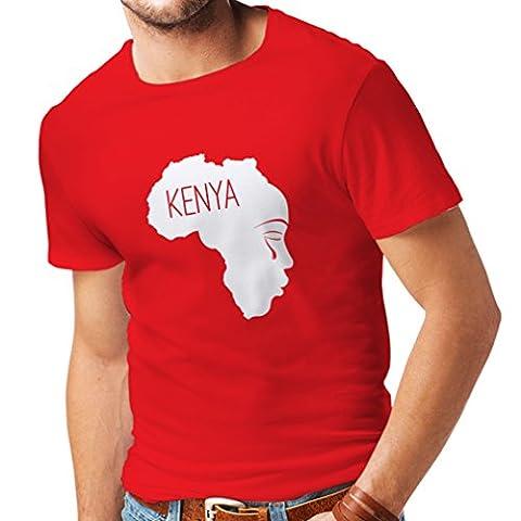 N4199 Sauvegarder Kenya T-shirt (XL, Rouge Blanc)