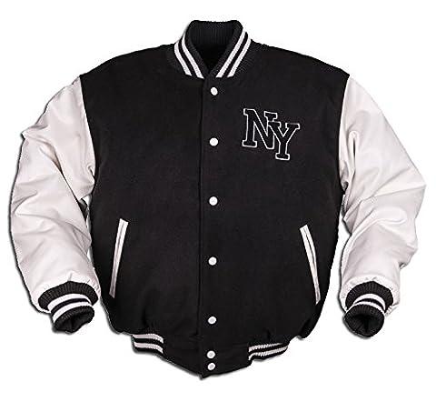 Veste de baseball avec badge NY Noir/Blanc S Noir -