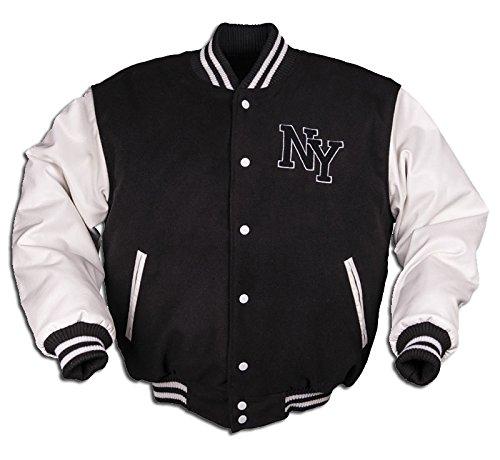 Mil-Tec NY Baseball Jacke mit Patches (Schwarz/Weiß/M)