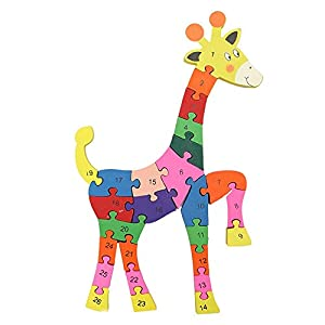 SKNSM Divertente Modello di Giraffa in Legno Puzzle, Puzzle di Legno Giraffe Pattern Puzzle Alfabeto