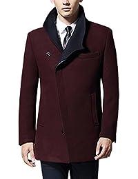 Lukis Herren Trenchcoat Winter Wollmantel Reverskragen Jacke Fleece Business