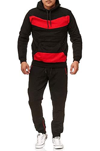 Violento Herren Jogging-Anzug | mit Bündchen und Tunnelzug | Enger Beinabschluss | Sport-Anzug mit Bauchtasche | Leder Design 610 | S-XXL (XXL, Schwarz-Rot)