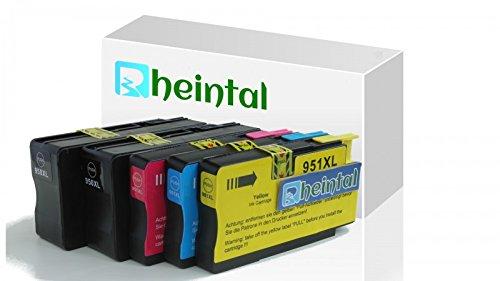 Rheintal Tintenpatronen kompatibel zu HP 950XL 951XL (2 Schwarz,1 Cyan,1 Magenta,1 Gelb) kommen mit neuen Chips, hoher Kapazität kompatibel zu HP Officejet Pro 8600 8610 8620 8630 8640 8660 8615 8625 8100 251dw 271dw Drucker