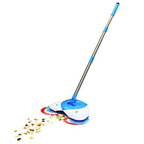 Hand Push Kehrmaschine Besen 360 Grad Rotary einstellbarer Handgriff ohne Strom Haushalt Besen Kehrmaschine (Blau)
