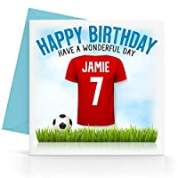 Personalised Boys Red Football Top Birthday Card Any Age, Relative & Message