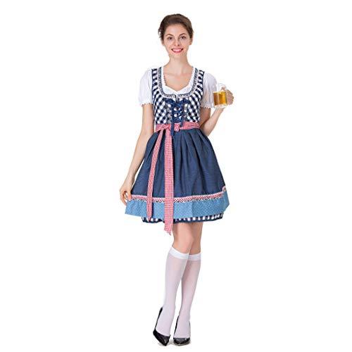 Kostüm Deutsche Lederhosen Mädchen - PROTAURI Deutsche Dirndl Kostüme für Damen - Bayerischer Oktoberfest Karneval Halloween Cosplay Maid Dress Outfit